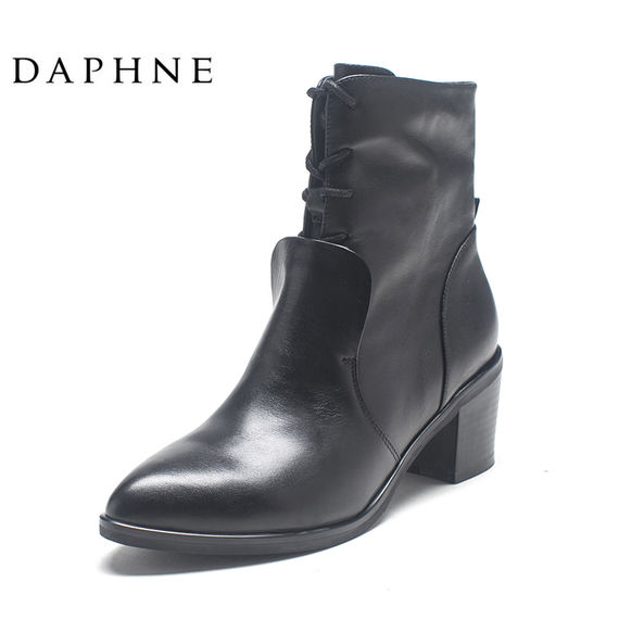 Daphne/ Daphne Round Women's Boots Winter European and American cowhide pointed heads with women's booties