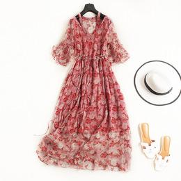 高端定制女装欧美大牌2018夏季新款浪漫荷叶袖系带印花真丝连衣裙