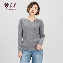 红莲 HONG LIAN圆领女式秋冬纯山羊绒毛衣套衫打底衫舒适保暖