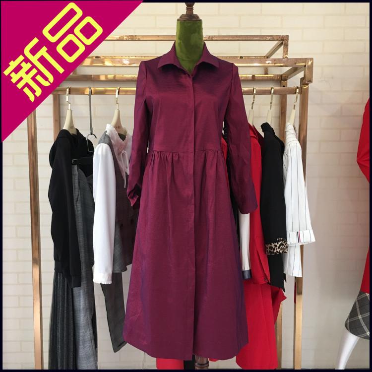 朗珂L19Q0F208纯色气质风衣正品2019新款秋装韩版修身气质外套女