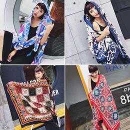 新款民族风围巾超大棉麻波西米亚防晒披肩夏季旅游长款丝巾沙滩巾
