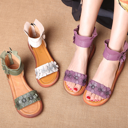 民族风女鞋 夏季松糕女凉鞋 真皮中跟休闲鞋高帮花朵凉靴 罗马鞋