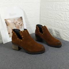 马丁靴女短靴粗跟裸靴高跟单靴韩版休闲女靴春秋季舒适后拉链潮靴