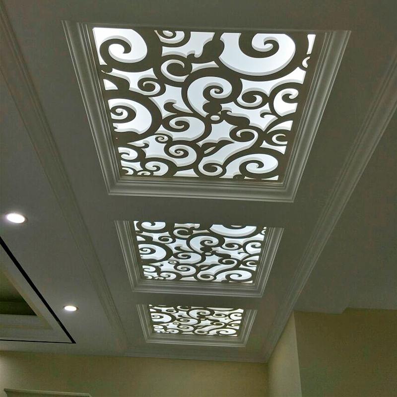 定制现代pvc镂空花格吊顶雕花板材装饰过道走廊顶上祥云造型木雕