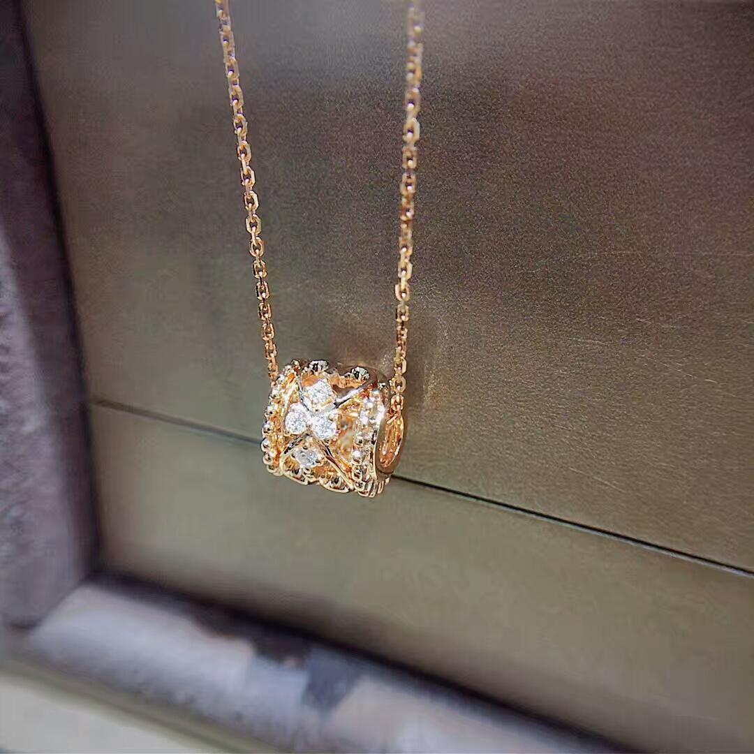 18k金项链套链 女彩金项链au750玫瑰金项链黄金链项坠k金钻石吊坠