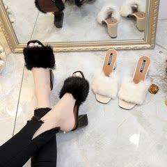 春款拖鞋女时尚韩版外穿可爱懒人毛毛鞋粗跟高跟试衣间女士一字拖
