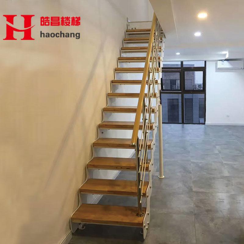 简约现代北欧双梁楼梯定做钢木楼梯厂家直销扶手护栏室内双梁楼梯