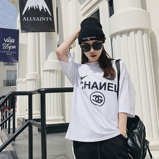 Zheng Yujie 2018 Spring New Style Women's BF Wind Loose Casual Print Letter T-shirt
