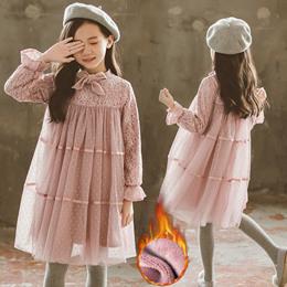 女童秋冬装连衣裙过年新年韩版儿童超洋气时尚中大童加绒公主裙子