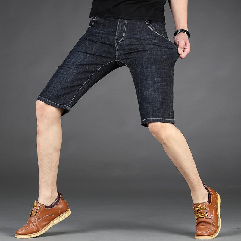 夏季薄款弹性七分裤男直筒弹力男士黑色牛仔裤修身五分裤休闲马裤