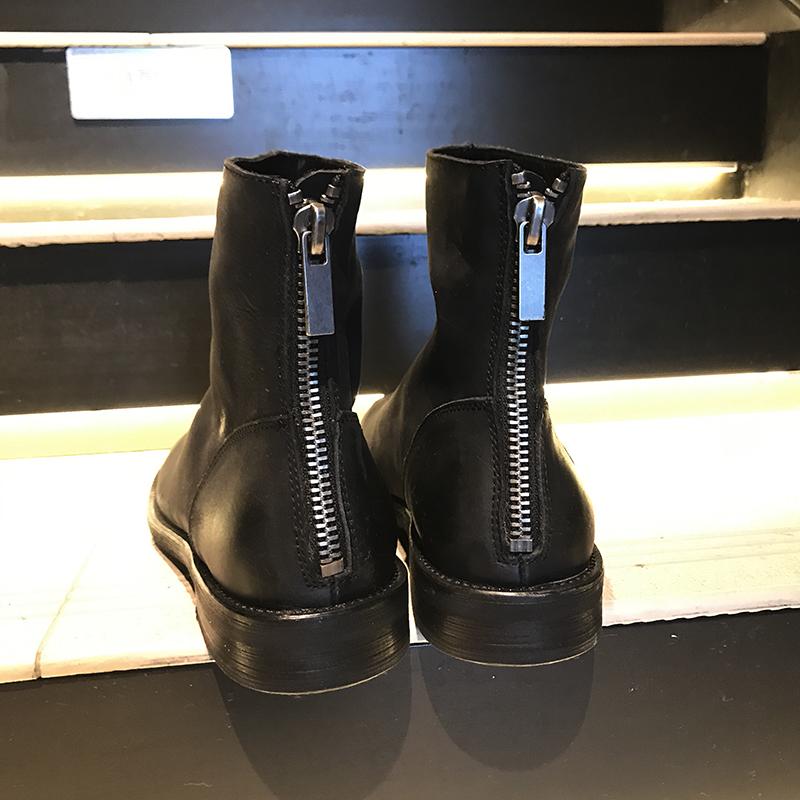 日系设计师暗黑大头皮鞋男复古做旧潮流圆头后拉链厚底皮靴GUIDI