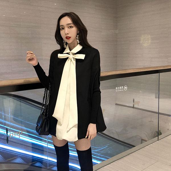 韩版针织长袖打底衫+斗篷蝙蝠型蝴蝶结披肩2018秋季新款气质女装