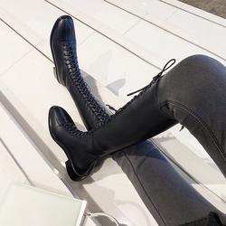 系带马丁靴女加绒英伦风高筒2018冬季新款欧洲站百搭显瘦皮面长靴