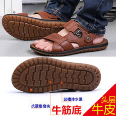 2018 summer new men's sandals leather Vietnam beach shoes tendon bottom non-slip casual shoes slippers men's shoes leather shoes