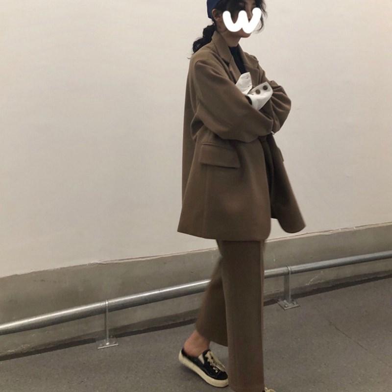韩版春季复古宽松翻边袖一粒扣毛呢西装外套+高腰垂感直筒休闲裤
