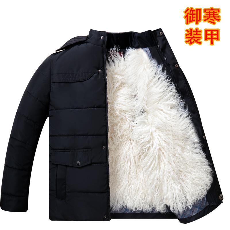 男士外套大码棉衣中老年羊皮袄皮毛一体立领保暖加厚秋冬季爸爸装