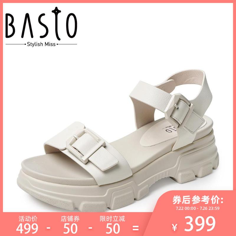 百思图2019夏季时尚牛皮革露趾坡跟一字带女皮凉鞋VA5K3BL9