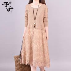 Son also 2018 autumn and winter new long section loose sweater embroidered stitching lined bottoming knit sweater skirt