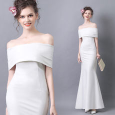 Angel wedding dress gas field white dew bonebone birthday dinner annual party performance party dress wholesale 10087t