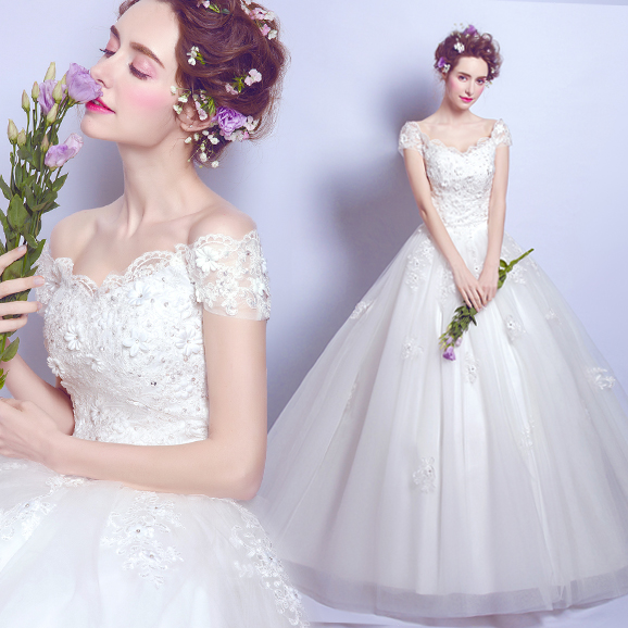 天使嫁衣 花仙美人 仙灵蕾丝花朵一字肩公主新娘齐地婚纱礼服2556