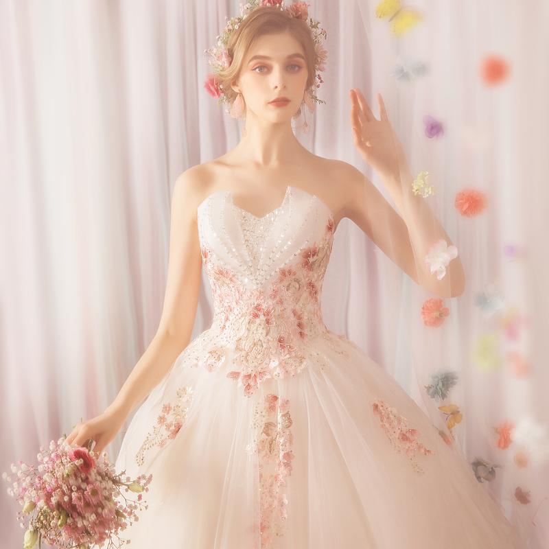 天使嫁衣 空灵森系花仙子 时髦个性玫瑰花朵抹胸公主新娘婚纱3161