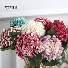 Single branch nostalgic hydrangea fake flower 仿真 flower artificial flower large European style living room decoration special wedding decoration wall batch