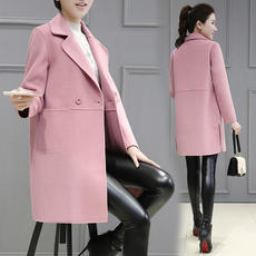 2018 spring and autumn new Korean version of the woolen coat in the long section of the student was thin small woolen coat female autumn and winter models