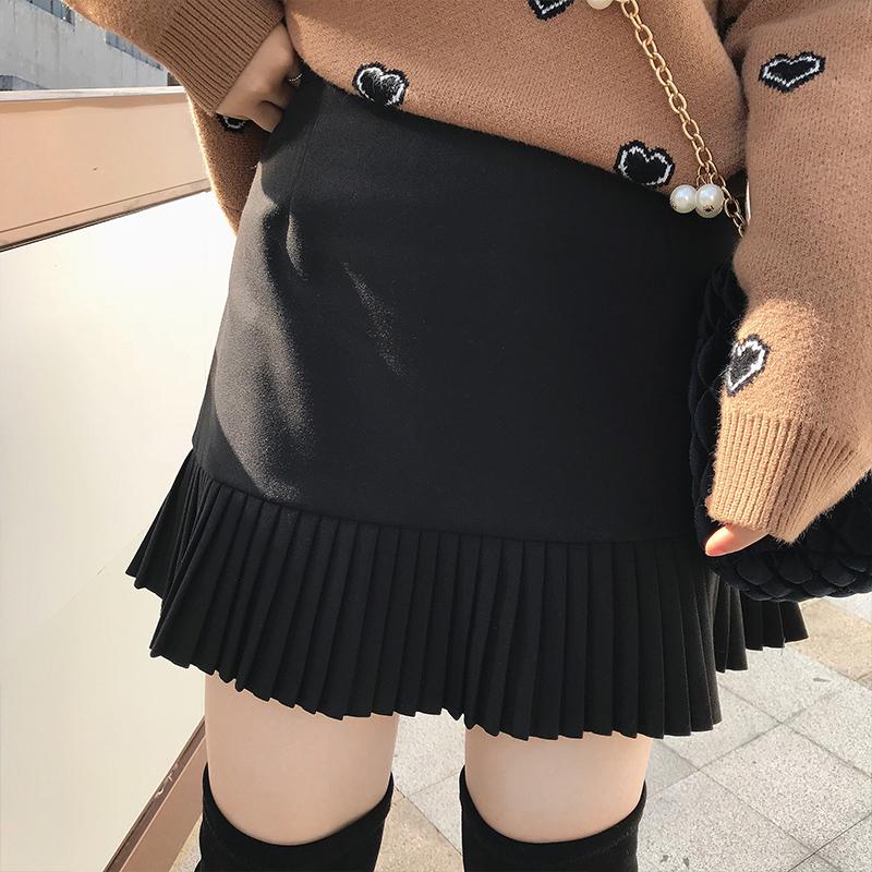 摩妮卡2018新款大码女装百褶半身裙胖mm显瘦秋冬装百搭短裤