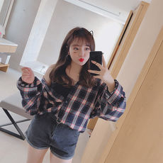 Monica 2018 Korean version of the large size women's spring and summer new wild fat MM loose thin lattice long-sleeved shirt