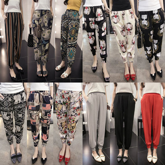 2018 summer new loose nine pants women's flower pants sunscreen casual pants bloomers thin section chiffon harem pants