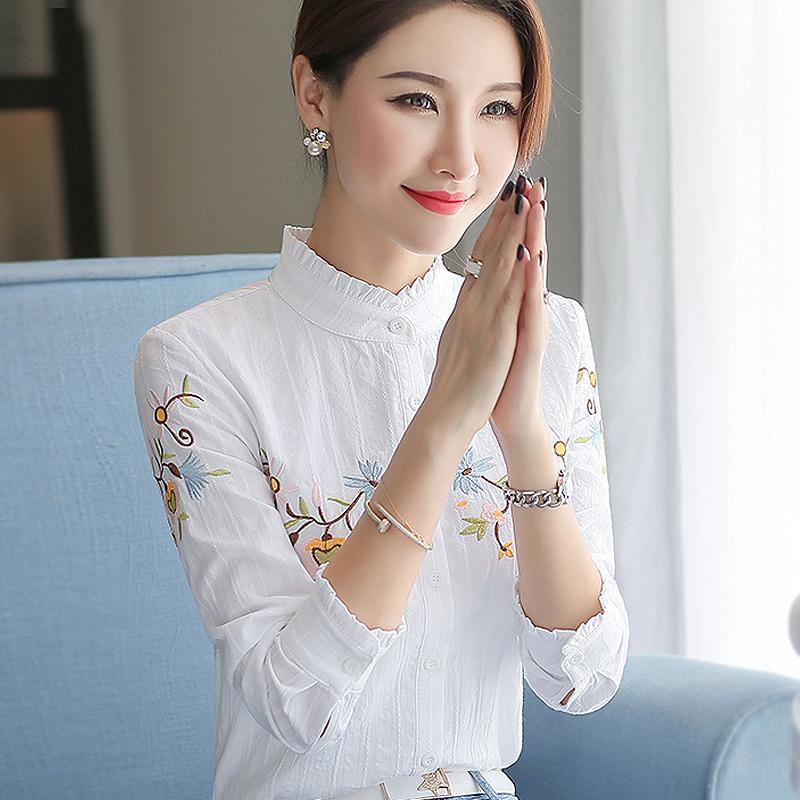 纯棉衬衣2019春装新款女装木耳领上衣绣花白色立领加绒长袖女衬衫