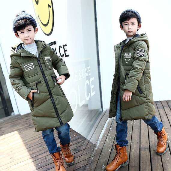 Anti-season promotion boy down jacket authentic new big children's hooded children's long thick Korean coat
