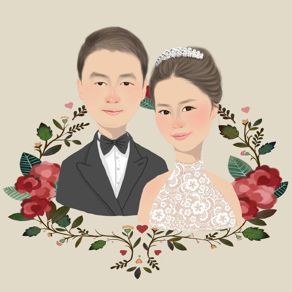 结婚头像写实唯美手绘 婚礼喜帖定制绘画 结婚礼物设计 婚礼用Q版