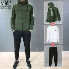 Playboy VIP Youth Sports Suit Men's Spring and Autumn Casual Three-piece Suit Jacket Long Sleeve T-Shirt Pants Tide