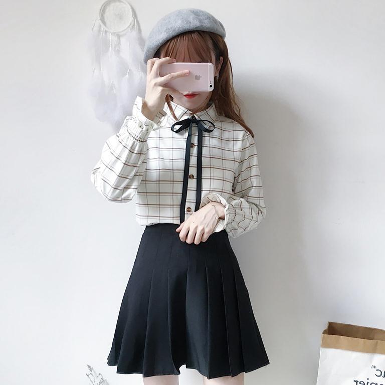 秋装女装日系复古蝴蝶结系带长袖格子衬衫+百褶半身裙时尚套装潮