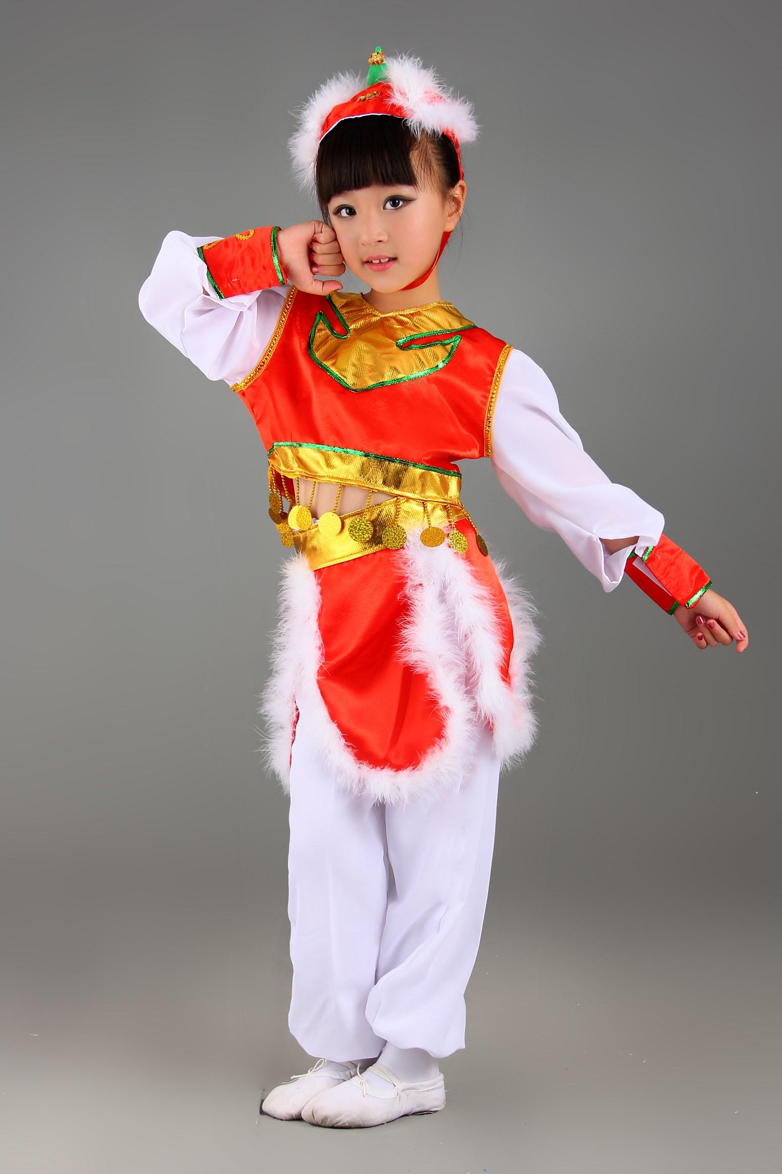 少儿演出服儿童表演服民族蒙族女童筷子舞蹈服幼儿蒙古舞服装裙装图片图片