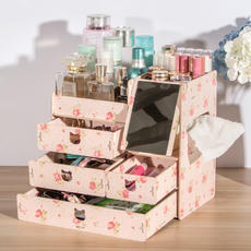 Cosmetic storage box with mirror bedroom simple dressing table skin care racks wooden multi-layer household