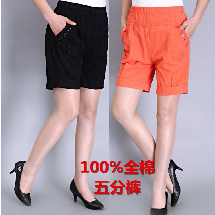 中老年女装夏装女裤妈妈纯棉热裤短裤松紧腰宽松大码裤子休闲短裤