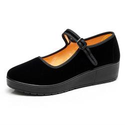厚底松糕老北京布鞋女坡跟中高跟防滑舞蹈鞋酒店工作鞋黑妈妈单鞋