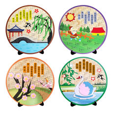 Kindergarten children's handmade DIY colored paper paste material package Chinese traditional creative ancient poetry non-woven stickers