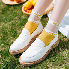 Xia thin Harajuku sports letter transparent crystal glass card tube in the tube female tide socks Japanese college cotton stockings