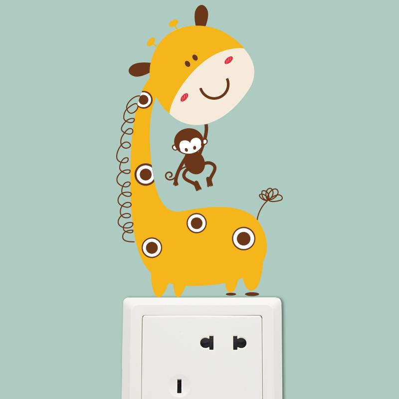 卡通儿童房卧室幼儿园插座贴开关贴可爱长颈鹿装饰品