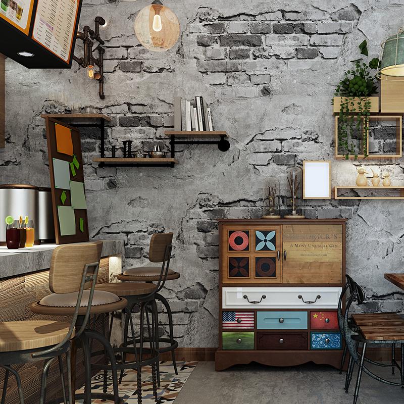 砖纹墙纸砖块砖头复古怀旧灰色水泥砖墙工业风loft仿古背景墙壁纸