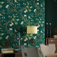 American country retro nostalgic apple tree flowers and birds wallpaper bedroom living room wall pure paper garden hotel wallpaper