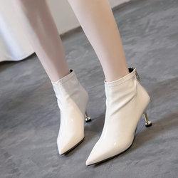 2018新款女秋冬短靴漆皮细跟裸靴尖头酒杯跟网红高跟鞋短筒棉靴子