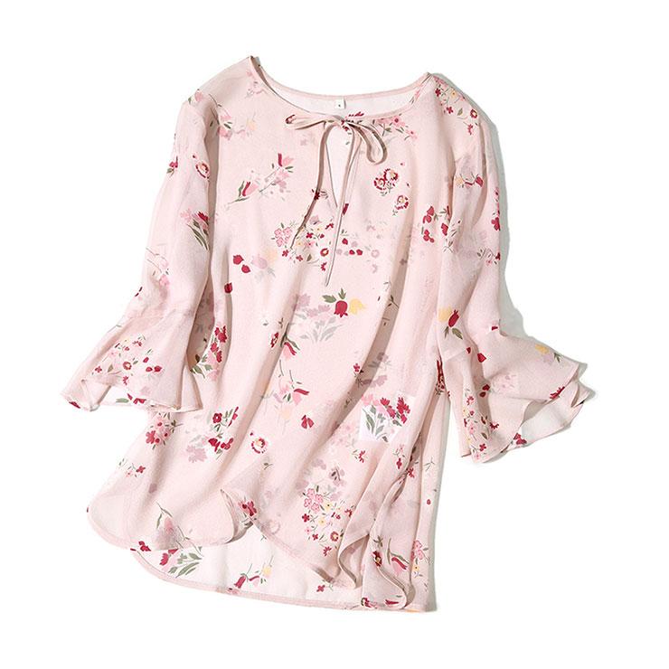[MLECS125]茉莉雅集 法式恬静淡粉印花 轻透真丝料喇叭袖衬衫