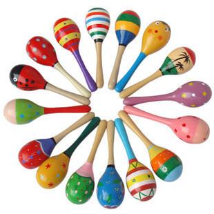 婴儿玩具木制沙锤奥尔夫教具早教益智玩具 卡通沙锤锻炼手握能力