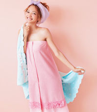 Promotion Japan super cute order terry cloth pleated buckle bathrobe + dry hair cap set