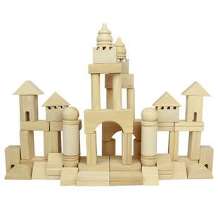 积木早教积木搭城堡教具桶装拼装实木儿童玩具积原木木制宝宝v积木大块与乐高图片