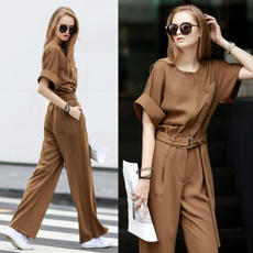 Europe and the United States spring and summer elegant casual round neck pocket high waist wide band loose pants commuter wide leg pants 9470